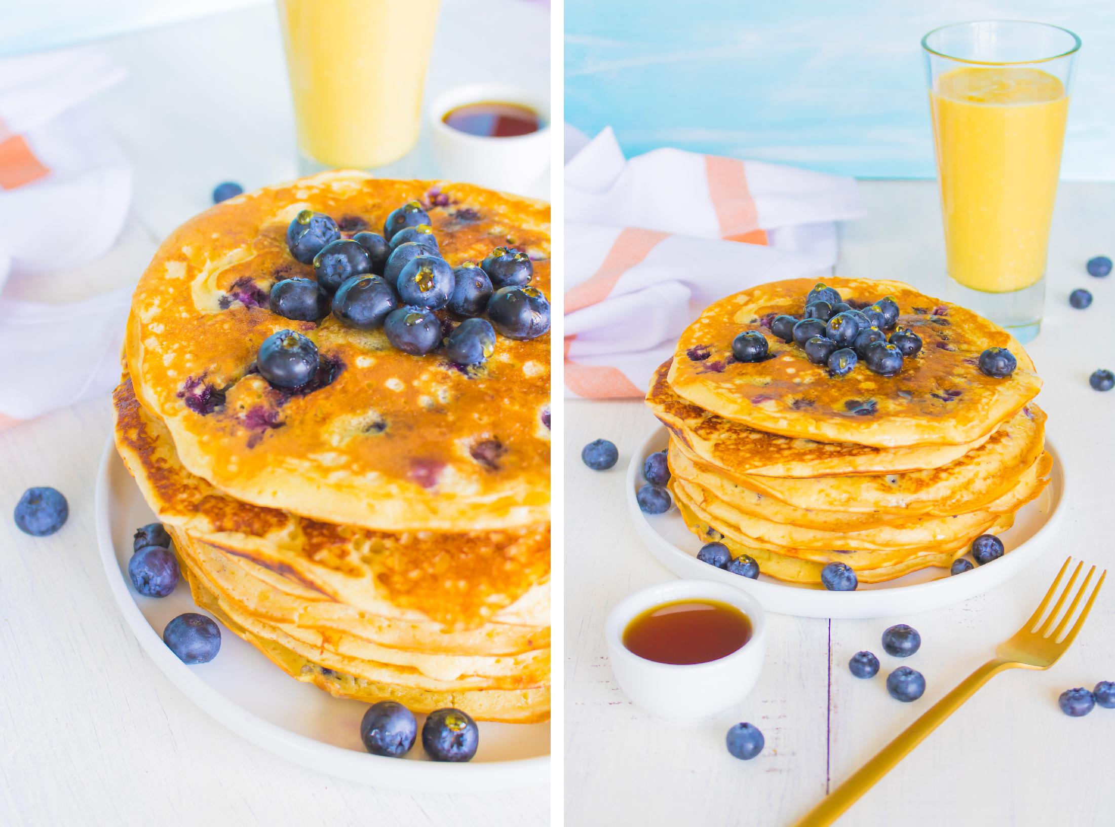 Pancake moelleux aux myrtilles